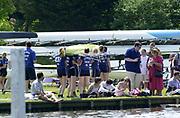 Henley. England. Oxford lightweight Women re-racking their boat 2001 Henley Women's Henley  Regatta, Henley Reach. United Kingdom. [Mandatory Credit: Peter Spurrier / Intersport Images]