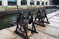 Manual Lock Winches (called Crabs) at the  Rideau Canal in Ottawa (Locks 1-8) in Ottawa, Ontario, Canada.