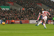 Gianelli Imbula of Stoke City tries a shot at goal. Premier league match, Stoke City v Leicester City at the Bet365 Stadium in Stoke on Trent, Staffs on Saturday 17th December 2016.<br /> pic by Chris Stading, Andrew Orchard sports photography.