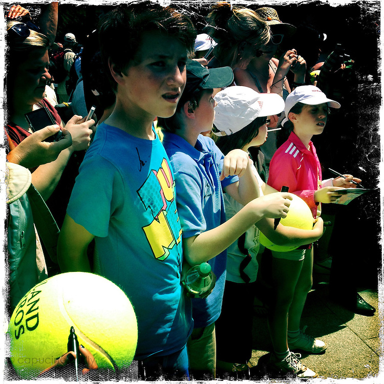 Roland Garros. Paris, France. May 27th 2012.Kids wait for Rafael NADAL to get out from training..