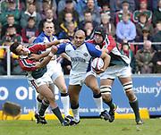 Leicester, England UK., 9th October 2004,  Zurich Premiership Rugby, Leicester Tigers vs Bath Rugby, Welford Road,<br /> [Mandatory Credit: Peter Spurrier/Intersport Images],<br /> baths Brendan Daniel, is tackled by left harry Ellis and Ben kay