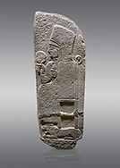 Picture & image of Hittite monumental relief sculpted orthostat stone panel of a Procession Basalt, Karkamıs, (Kargamıs), Carchemish (Karkemish), 900 - 700 B.C. Anatolian Civilisations Museum, Ankara, Turkey.<br /> <br /> Goddess Kubaba. End of pannels. The godess is saeted on a chair which is on a lion. she hold a mirror in her right hand and a pomegranate in her left.<br /> <br /> Against a gray background. .<br />  <br /> If you prefer to buy from our ALAMY STOCK LIBRARY page at https://www.alamy.com/portfolio/paul-williams-funkystock/hittite-art-antiquities.html  - Type  Karkamıs in LOWER SEARCH WITHIN GALLERY box. Refine search by adding background colour, place, museum etc.<br /> <br /> Visit our HITTITE PHOTO COLLECTIONS for more photos to download or buy as wall art prints https://funkystock.photoshelter.com/gallery-collection/The-Hittites-Art-Artefacts-Antiquities-Historic-Sites-Pictures-Images-of/C0000NUBSMhSc3Oo