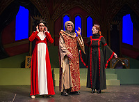 Kelley Davies as Snow White with King Stanley played by Ken Chapman and Queen Belladonna played by Ursula Minich Boutwell during Tuesday afternoon dress rehearsal at the Winnipesaukee Playhouse.  (Karen Bobotas/for the Laconia Daily Sun)