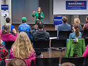 21 NOVEMBER 2019 - DES MOINES, IOWA: MARIANNE WILLIAMSON talks to a group of about 50 Iowans during a campaign appearance at the Central Public Library in Des Moines. Williamson, an author, activist, and spiritual leader, is running to be the Democratic nominee for the US Presidency in the 2020 election.  Iowa hosts the first presidential selection event of the 2020 election cycle. The Iowa caucuses are on February 3, 2020.                  PHOTO BY JACK KURTZ