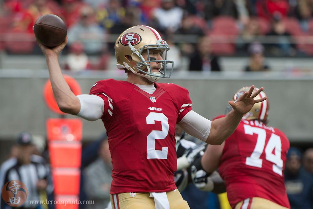 January 3, 2016; Santa Clara, CA, USA; San Francisco 49ers quarterback Blaine Gabbert (2) passes the football against the St. Louis Rams during the first quarter at Levi's Stadium.
