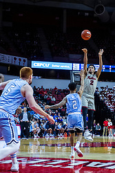 NORMAL, IL - February 08: Zach Copeland offers a long 2 over Jordan Barnes during a college basketball game between the ISU Redbirds and the Indiana State Sycamores on February 08 2020 at Redbird Arena in Normal, IL. (Photo by Alan Look)