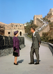File photo dated 14/10/86 of Queen Elizabeth II and the Duke of Edinburgh on the Great Wall of China at the Bedaling Pass, 50 miles north-west of Beijing, on the third day of their State Visit to the country. The Royal couple will celebrate their platinum wedding anniversary on November 20.