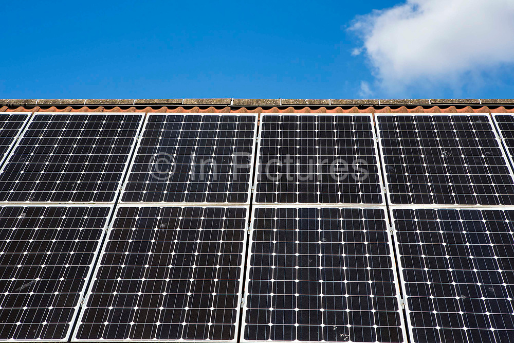 The solar panels array on the roof of Oldfield Park Infant School. Installed with the support of Bath and West Community Energy a community project. Bath, Somerset.