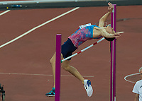 Athletics - 2017 IAAF London World Athletics Championships - Day Ten, Evening Session<br /> <br /> Mens High Jump Final <br /> <br /> Danil Lysenko (Authorised Neutral Athlete) clears the bar to secure the silver medal at the London Stadium<br /> <br /> COLORSPORT/DANIEL BEARHAM