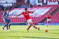 Alex Mowatt of Barnsley (27) shoots, but his shot is saved, during the EFL Sky Bet League 1 match between Barnsley and Wycombe Wanderers at Oakwell, Barnsley, England on 16 February 2019.