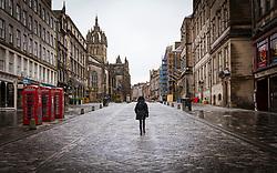 Royal Mile, Edinburgh Old Town. 6 February 2021.Empty street during covid-19 lockdown, Scotland, UK