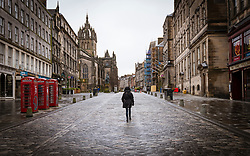 Royal Mile, Edinburgh Old Town. 6 February 2021.Empty street during covid-19 lockdown, Scotland, UK
