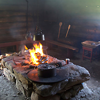 Europe, Norway, Molde.  Traditional Norwegian kitchen in the Romsdal Museum.