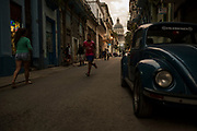 Street scene at the end of the day in old Havana, Cuba.