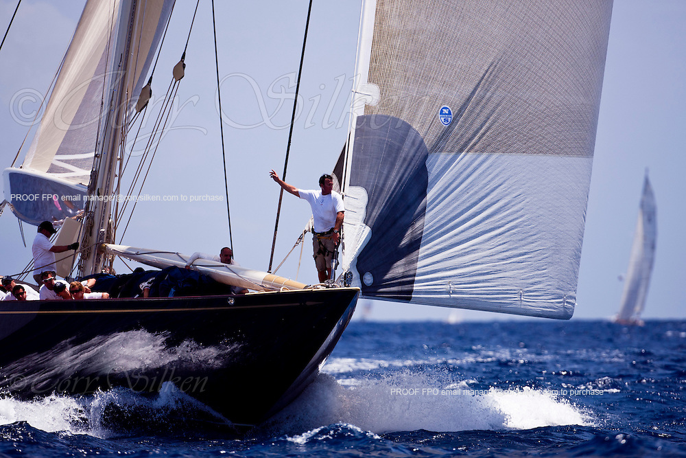 Velsheda sailing in the Old Road Race at the 2011 Antigua Classic Yacht Regatta.
