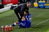 Andre Gomes of Everton is helped to his feet by Leeds United manager Marcelo Bielsa<br /> <br /> Photographer Paul Greenwood/CameraSport<br /> <br /> The Premier League - Leeds United v Everton - Wednesday 3rd February 2021 - Elland Road - Leeds<br /> <br /> World Copyright © 2021 CameraSport. All rights reserved. 43 Linden Ave. Countesthorpe. Leicester. England. LE8 5PG - Tel: +44 (0) 116 277 4147 - admin@camerasport.com - www.camerasport.com
