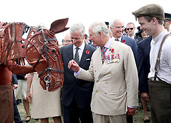 The Prince of Wales (centre right) and King Philippe of Belgium (centre) meet War Horse during a visit to Exhibition Field at the Passchendaele Memorial Park in Zonnebeke, Belgium, to mark the centenary of Passchendaele.