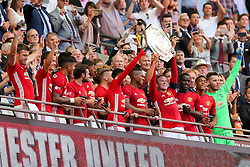 Wayne Rooney of Manchester United lifts the Community Shield after Manchester United win the match 1-2 - Rogan Thomson/JMP - 07/08/2016 - FOOTBALL - Wembley Stadium - London, England - Leicester City v Manchester United - The FA Community Shield.