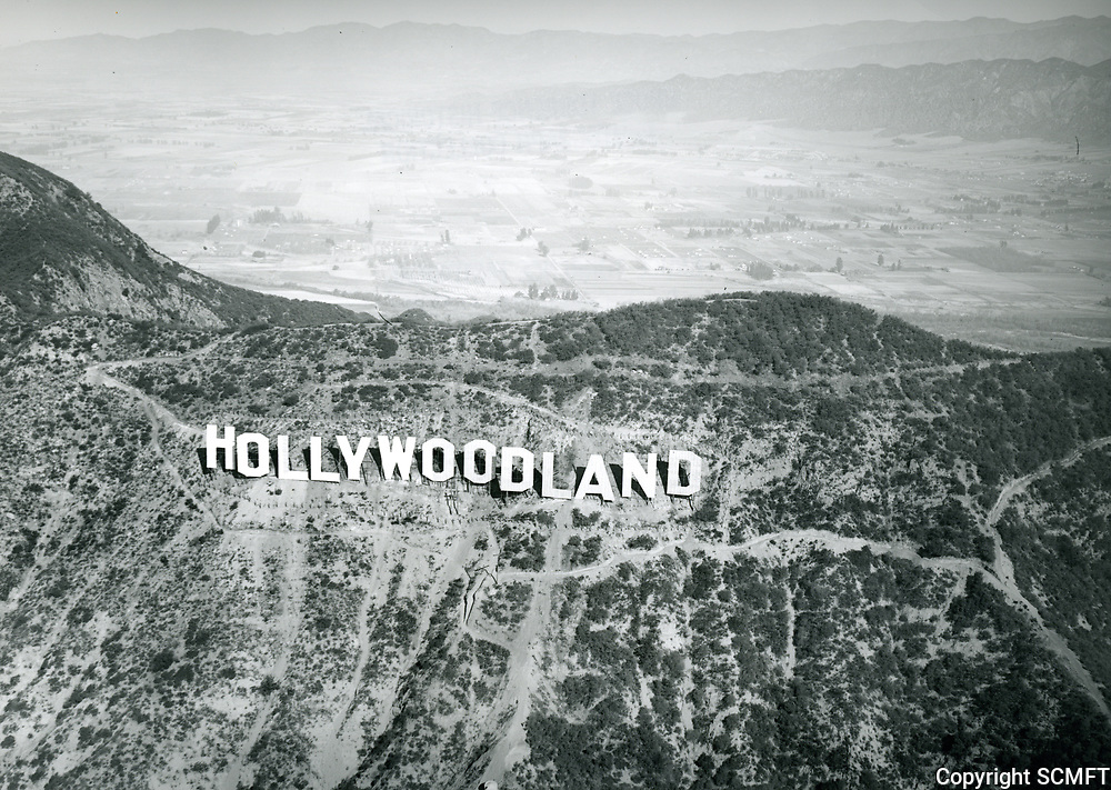 1930 Aerial of the Hollywoodland sign