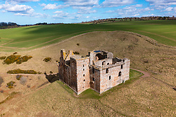 Aerial view of Crichton Castle in Crichton in Midothian, Scotland, UK