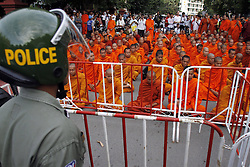 60500504  <br /> Pro-opposition monks meditate and pray for peace on a street near the Royal Palace in Phnom Penh, Cambodia, Sept. 19, 2013. More than 100 monks on Thursday called on the nations King Norodom Sihamoni to postpone the opening session of new parliament scheduled next Monday, Thursday September 19, 2013,<br /> Picture by imago / i-Images<br /> UK ONLY