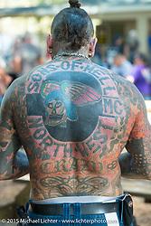 Paul Tattitude of Manchester, ENGLAND, at the Broken Spoke Saloon in Ormond Beach during Daytona Beach Bike Week 2015, FL, USA. Tuesday March 10, 2015.  Photography ©2015 Michael Lichter.
