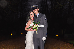 Bride and Groom on driveway at Flitwick Manor Hotel, Bedfordshire