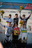 Ladies and Mens winners of the 2011 UCI BMX Supercross World Cup in London. (Men) 1st WILLERS Marc, 2nd DAUDET Joris, 3rd LONG Nicholas. (Ladies)1st READE Shanaze, 2nd WALKER Sarah, 3rd REYNOLDS Lauren
