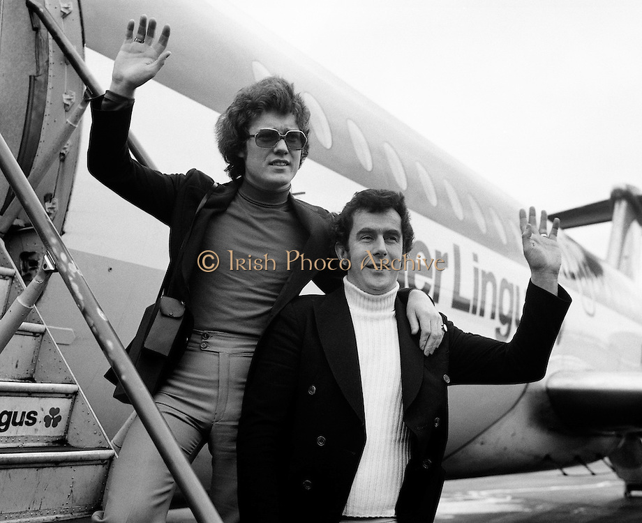 Singer Red Hurley and composer Brendan Graham head off for the Eurovision Song Contest in The Hauge. The song 'When' came 10th in the contest, which was won by Brotherhood of Man with 'Save Your Kisses for Me'.<br /> 30/03/1976