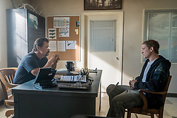 """""""Supe"""" Eric Marsh (Josh Brolin) interviews Brendan McDonough (Miles Teller) at Crew 7 HQ in Columbia Pictures' ONLY THE BRAVE."""