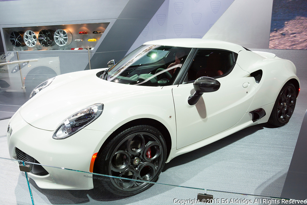DETROIT, MI, USA - JANUARY 12, 2015: Alfa Romeo 4C on display during the 2015 Detroit International Auto Show at the COBO Center in downtown Detroit.