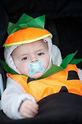 Guinness Northern Counties Housing Associations Godley Street  Scheme Hold a Halloween Street Party.8 month old Lloyd Lee Brotherton.30 October 2010 .Images © Paul David Drabble