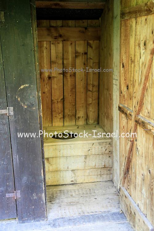Wood outhouse Photographed in Ruzomberok, Liptov, Slovakia
