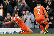 GOAL 0-1 Luton Town defender Matty Pearson (6) scores with a header and celebrates during the EFL Sky Bet League 1 match between Southend United and Luton Town at Roots Hall, Southend, England on 26 January 2019.