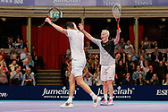 John McEnroe and Tim Henman celebrate victory after the Champions Tennis match at the Royal Albert Hall, London, United Kingdom on 6 December 2018. Picture by Ian Stephen.