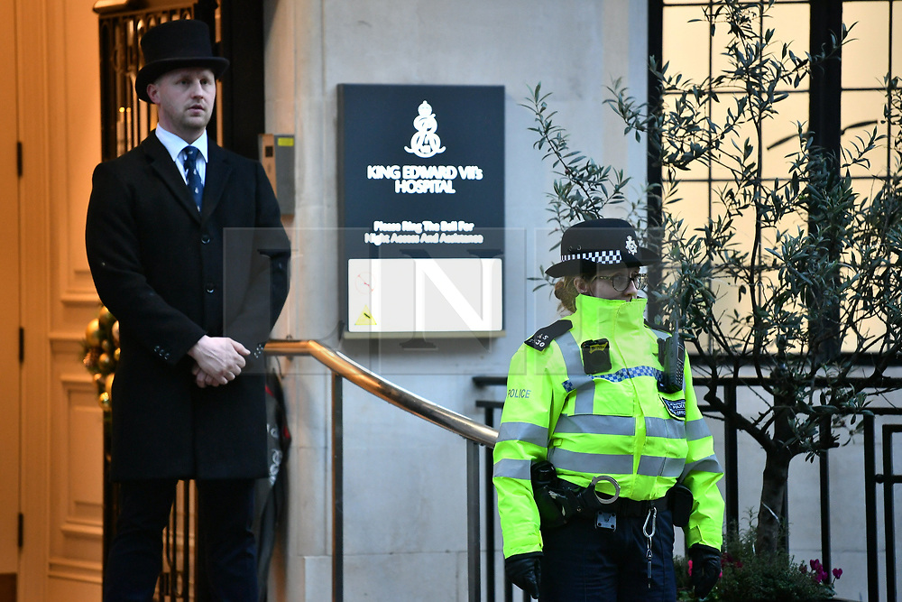 © Licensed to London News Pictures. 20/12/2019. London, UK. Police outside the Edward VII hospital in central London where the Duke of Edinburgh has been admitted. Buckingham Palaces says the Duke has travelled from Norfolk to the hospital for observation and treatment in relation to a pre-exsisting condition. Earlier Queen Elizabeth II travelled to Sandringham by train for the Christmas holiday. Photo credit: Ben Cawthra/LNP