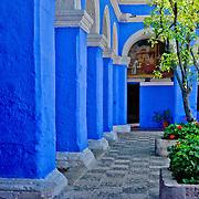 "South America, Peru, Andes, Arequipa, White City, Santa Catalina, Monasterio Santa Catalina. Graceful archways of Monasterio Santa Catalina in the ""White City"" of Arequipa, Peru."