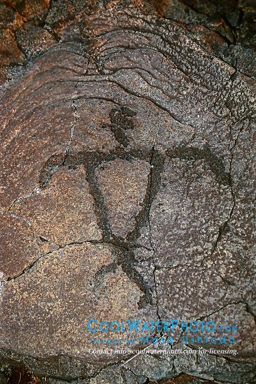 Petroglyph, representing an ideal broad-shouldered Hawaii, USAan male, Pu`u Loa, Puu Loa, Pu`uloa or Puuloa Petroglyph Trail, Hawaii, USA Volcanoes National Park, Kilauea, Big Island, Hawaii, USA