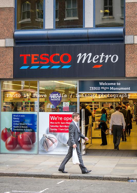Tesco Metro Store, London, Britain - Aug 2013.