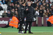 Jose Mourinho, the Manchester United manager ® talks to Rui Faria, the Manchester United assistant manager on the touchline. Premier league match, West Ham Utd v Manchester Utd at the London Stadium, Queen Elizabeth Olympic Park in London on Monday 2nd January 2017.<br /> pic by John Patrick Fletcher, Andrew Orchard sports photography.