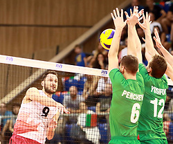 June 16, 2018 - Varna, Bulgaria - from left Jason DEROCCO (Canada), Rozalin PENCHEV (Bulgaria), Viktor YOSIFOV (Bulgaria), .mens Volleyball Nations League,week 4, Bulgaria vs Canada, Palace of culture and sport, Varna/Bulgaria, June 16, 2018, the fourth of 5 weekends of the preliminary lap in the new established mens Volleyball Nationas League takes place in Varna/Bulgaria. (Credit Image: © Wolfgang Fehrmann via ZUMA Wire)