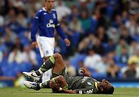Photo: Paul Thomas.<br />Everton v Werder Bremen. Pre Season Friendly. 31/07/2007.<br /><br />Carlos Alberto of Bremen lays injured on the ground.