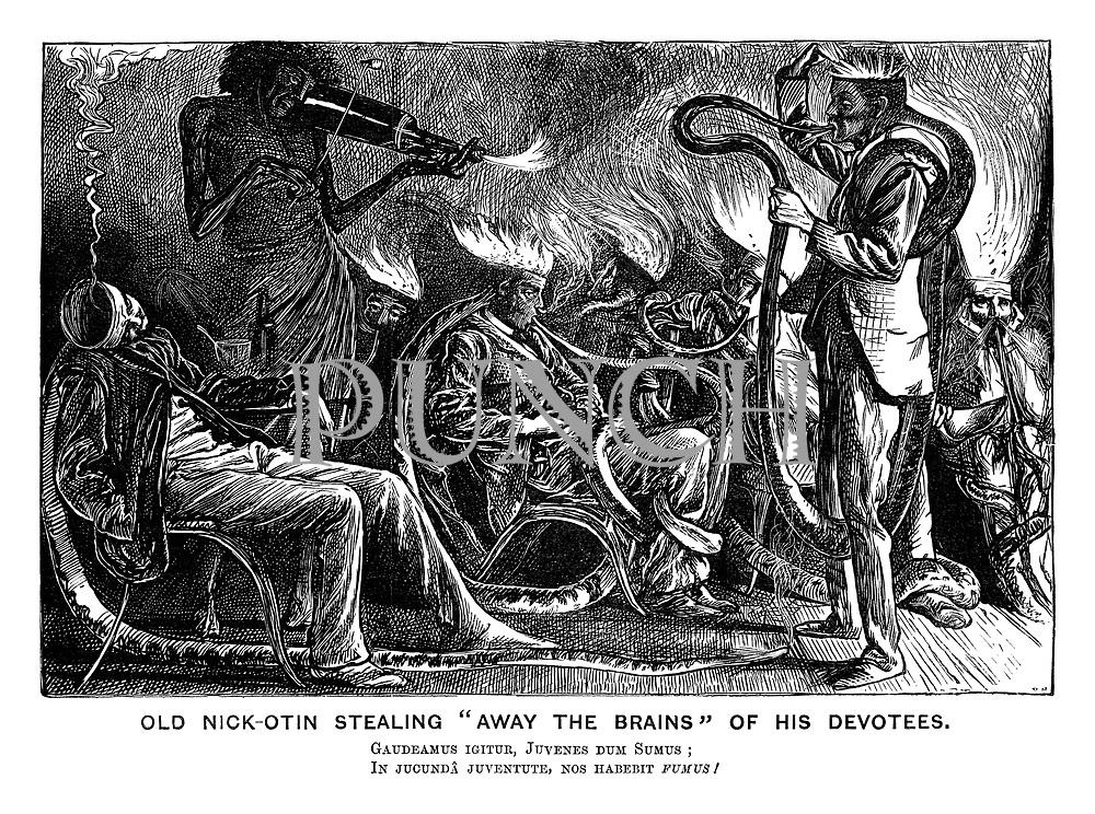 "Old Nik-otin Stealing ""Away the Brains"" of his Devotees. Gaudeamus igitur, juvenes dum sumus' In jucunda juventute, nos habebit fumus!"