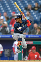 May 22, 2018 - Philadelphia, PA, U.S. - PHILADELPHIA, PA - MAY 22: Atlanta Braves second baseman Ozzie Albies (1) pulls back to swing during the MLB game between the Atlanta Braves and the Philadelphia Phillies on May 22, 2018 at Citizens Bank Park in Philadelphia PA. (Photo by Gavin Baker/Icon Sportswire) (Credit Image: © Gavin Baker/Icon SMI via ZUMA Press)