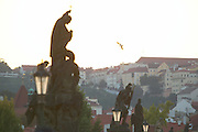 Czeck Republic, Prague, Charles bridge just after sunset with views of Malá Strana