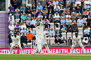 Moeen Ali of England hits the ball over the boundary for six runs during the first day of the 4th SpecSavers International Test Match 2018 match between England and India at the Ageas Bowl, Southampton, United Kingdom on 30 August 2018.