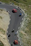 France - Tuesday, Jul 22 2008: Gerolsteiner's Stefan Schumacher leads the race up the climb of the Col de la Bonette Restefond during Stage 16 of the Tour de France 2008.(Photo by Peter Horrell / http://www.peterhorrell.com)