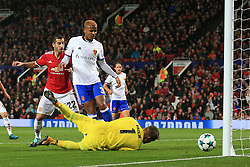 12th September 2017 - UEFA Champions League - Group A - Manchester United v FC Basel - Manuel Akanji of Basel watches as Henrikh Mkhitaryan of Man Utd hits the post from close range - Photo: Simon Stacpoole / Offside.
