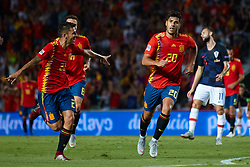 September 11, 2018 - Elche, Alicante, Spain - Marco Asensio of Spain and Dani Ceballos of Spain celebrates after scoring during the UEFA Nations League football match between Spain and Croatia at Martinez Valero Stadium in Elche on September 11, 2018  (Credit Image: © Sergio Lopez/NurPhoto/ZUMA Press)