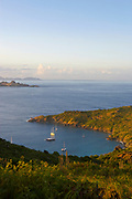 Colombier Beach and bay with boats, St. Barthelemy, FWI